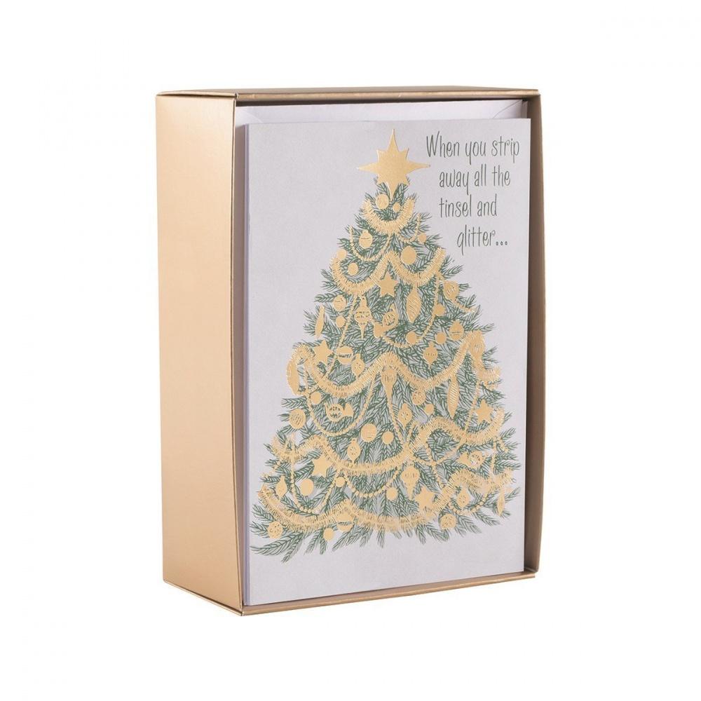 Dayspring Christmas Cards.Five Panel Christmas Tree With Topper Christmas Card Set