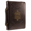 "Brown Embossed ""Holy Bible"" Bible Cover (Large)"