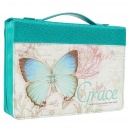 "Blue Botanic Butterfly Blessings ""Grace"" Bible / Book Cover - Ephesians 2:8 (Large)"
